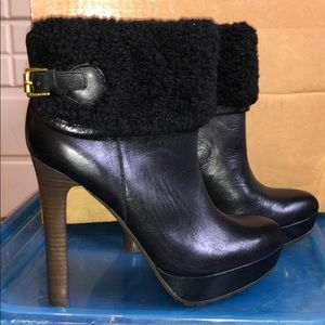 Coach Apple black shearling heeled boots sz 7.5